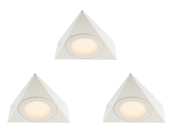 Endon Nyx 3 Pack Kit 2.5W Warm White Under Cabinet LED Light, Matt White Paint & Frosted Polycarbonate - 59879