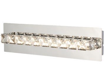Searchlight Clover LED Wall Light, Chrome Finish With Clear Crystal Glass - 6001CC
