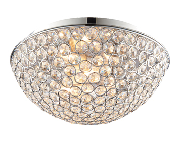 Endon Chryla 3 Light Flush Ceiling Light, Clear Crystal Glass & Chrome Plate Finish - 60103