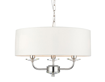 Endon Nixon 3 Light Pendant Light, Bright Nickel Finish With Crystal Glass & Vintage White Faux Silk Shade - 60129