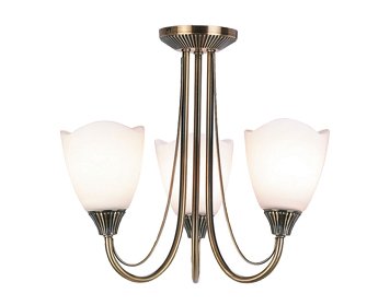 Endon Haughton 3 Light Semi Flush Ceiling Light, Antique Brass Finish With Opal Glass - 601-3AN