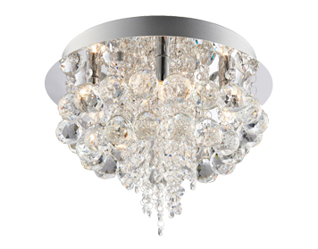 Endon Olmos 5 Light Flush Ceiling Light, Chrome Plate Finish With Clear Crystal Glass - 60196