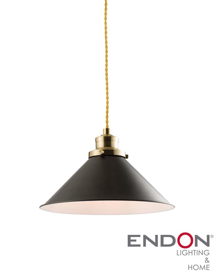 Endon Downton 1 Light Pendant Light Matt Black Paint