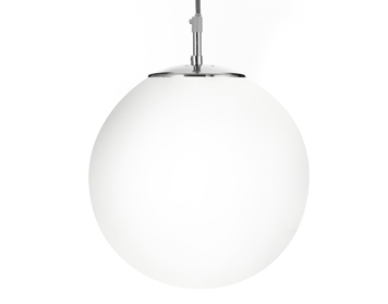 Searchlight Atom 1 Light Pendant Ceiling Light, Satin Silver Finish With Opal Glass Shade - 6066