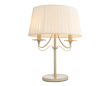 Endon Chester 2 Light Table Light, Cream Brushed Gold Finish With Off White Faux Silk Shade - 60762