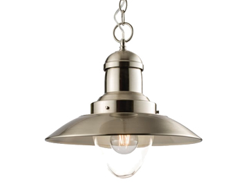 Endon Mendip 1 Light Ceiling Pendant, Satin Nickel Finish With Clear Glass - 60799