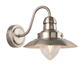 Endon Mendip 1 Light Wall Light, Satin Nickel Finish With Clear Glass - 60800