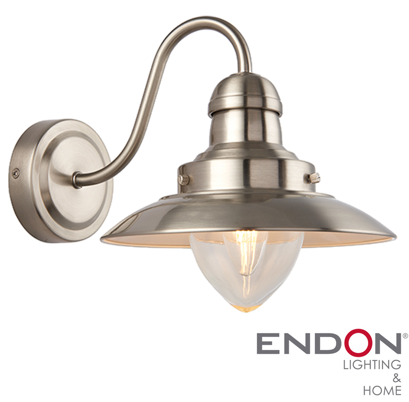 Endon Tiffany Wall Lights : Endon Mendip 1 Light Wall Light, Satin Nickel Plate & Clear glass - 60800 from Easy Lighting