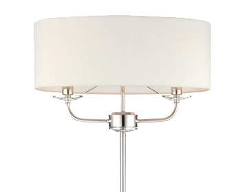 Endon Nixon 2 Light Floor Light, Bright Nickel Finish With Crystal Glass & Vintage White Faux Silk Shade - 60803