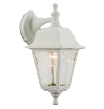 Endon U0027Pimlicou0027 IP44 Outdoor Wall Light, White Polypropylene U0026 Clear Glass    60840