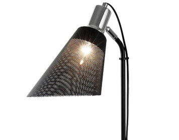 Searchlight Plexus 1 Light Floor Lamp, Black Chrome Finish With Mesh Shade - 6087CC