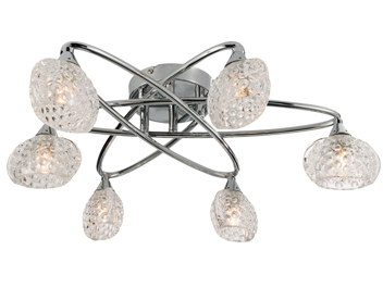 Endon Eastwood 6 Light Semi Flush Ceiling Light, Chrome Plate Finish With Clear Dimpled Glass - 60925