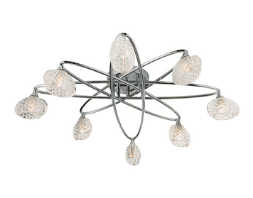 Endon Eastwood 8 Light Semi Flush Ceiling Light, Chrome Plate Finish With Clear Dimpled Glass- 60927
