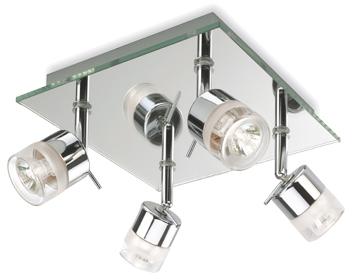 Firstlight Ocean IP44 4 Light Flush Ceiling Spotlight Chrome With Mirror Glass
