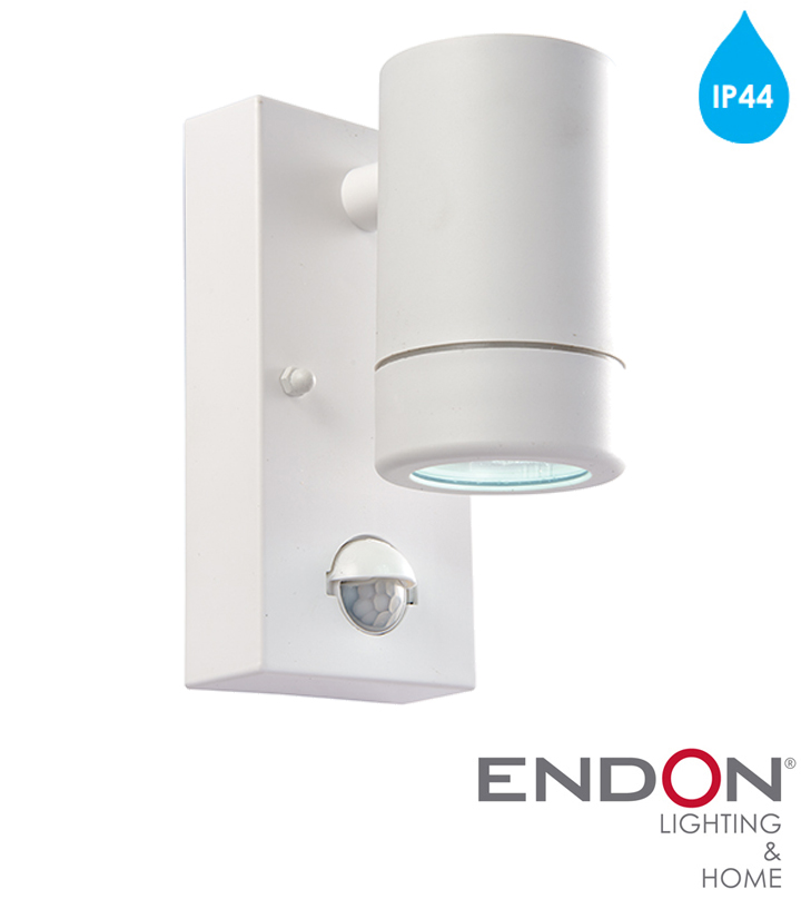 Endon icarus pir ip44 led 1 light outdoor wall light white endon icarus pir ip44 led 1 light outdoor wall light white polypropylene clear polycarbonate 61006 aloadofball Images