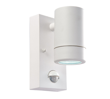 Endon Icarus PIR LED 1 Light Outdoor Wall Light, White Polypropylene & Clear Polycarbonate Finish - 61006