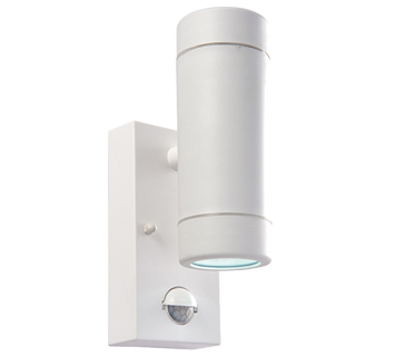 Endon Icarus PIR 2 Light Outdoor Wall Light, White Polypropylene & Clear Polycarbonate Finish - 61007