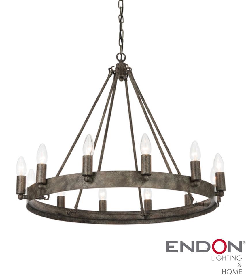 Endon Chevalier 12 Light Pendant Light Aged Metal Paint