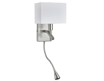 Searchlight 1 Light Switched Wall Lamp With Adjustable Integrated LED Reading Lamp, Satin Silver Finish - 6104SS