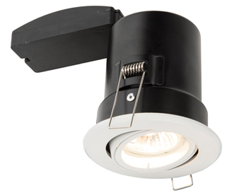 Endon ShieldPLUS MV 50W Recessed Tilt Downlight, Matt White Paint Finish - 61060