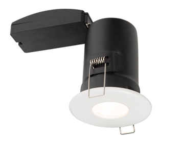 Endon ShieldPlus MV Recessed Ceiling Downlight, Matt White Paint & Clear Glass - 61061