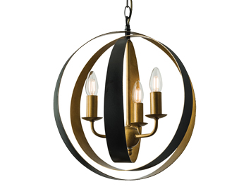 Endon Toro 5 Light Ceiling Pendant, Matt Black & Aged Gold Finish - 61066