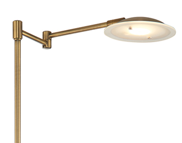 Endon Zurich LED Switched Floor Light, Antique Brass Plate - 61145
