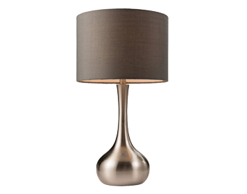 Endon Piccadilly Touch Table Lamp, Satin Nickel Finish With Dark Grey Cotton Mix Shade - 61192