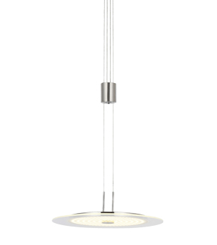 Wofi Roma 1 Light LED Rise & Fall Ceiling Pendant Light, Matt Nickel - 6120.01.54.0000
