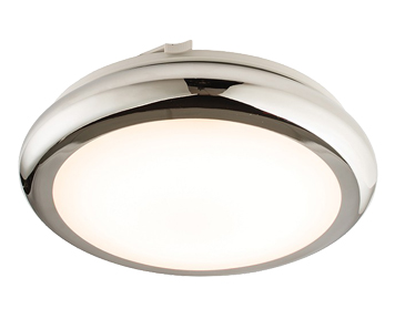 Endon Sigma LED Flush Ceiling Light, Chrome Plate & White Polypropylene Finish - 61212