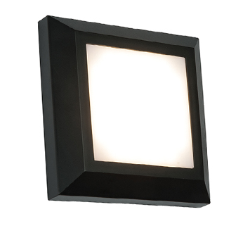 Endon Severus LED Square Outdoor Wall Light, Black ABS Plastic & Frosted Polycarbonate - 61218