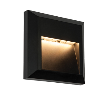 Endon Severus IP65 LED Square Outdoor Downlight Black ABS Plastic Clear Polycarbonate