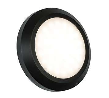 Endon Severus LED Round Outdoor Wall Light, Black ABS Plastic & Frosted Polycarbonate - 61220