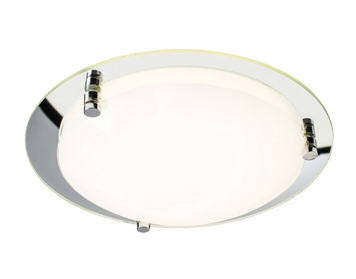 Endon Foster 300mm 12W LED Flush Ceiling Light, Opal & Mirrored Glass Finish - 61230