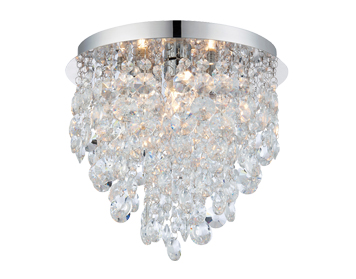 Endon Kristen Flush Ceiling Light, Clear Crystal Glass & Chrome Plate Finish - 61233