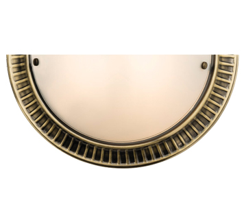 Endon 'Brahm' 1 Light Wall Light, Antique Brass Plate & Frosted Glass - 61236