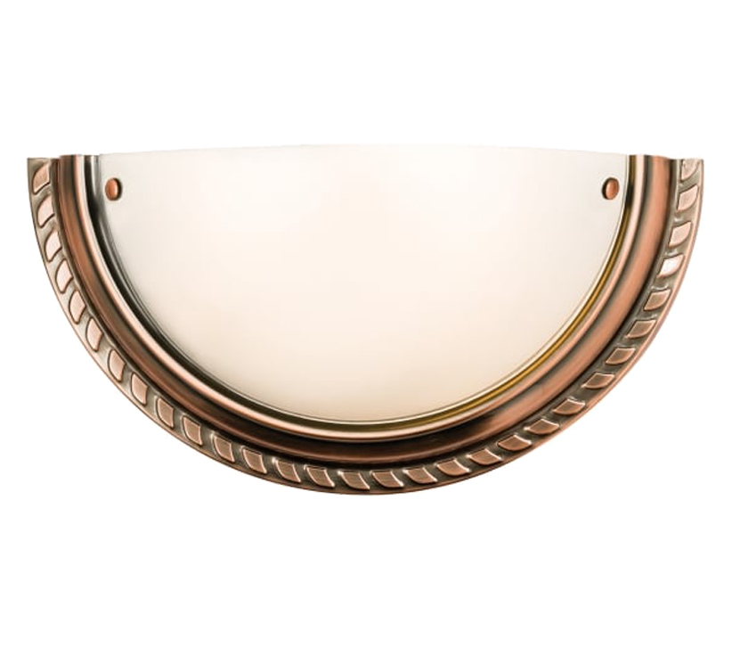 Endon Athens 1 Light Wall Light, Antique Copper Finished With Acid Etched Glass - 61238 None