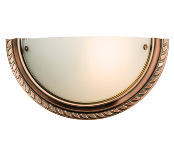 Endon 'Athens' 1 Light Wall Light, Antique Copper Plate & Frosted Glass - 61238