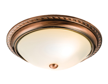 Endon Athens 2 Light Flush Ceiling Light, Antique Copper Finish With Frosted Glass - 61240