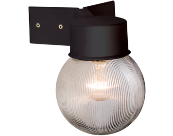Endon Ware Globe 1 Light Wall, Black & Ribbed Clear Polycarbonate - 61241