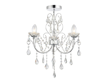 Endon Tabitha 3 Light Semi Flush Ceiling Light, Clear Crystal Glass & Chrome Plate Finish - 61251