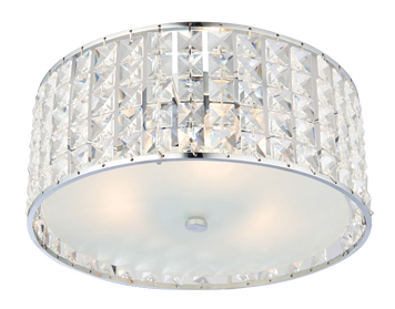 Endon Belfont 3 Light Flush Ceiling Light, Clear Crystal Glass & Chrome Plate Finish - 61252