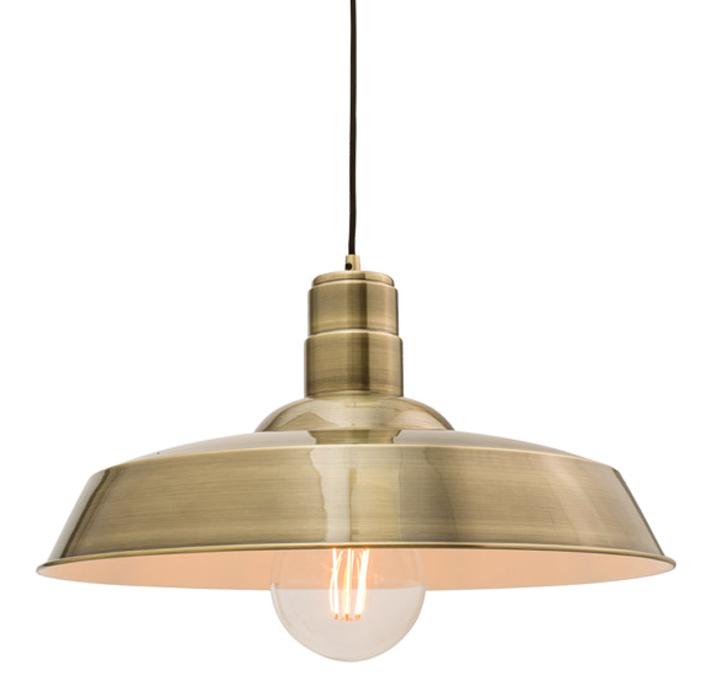 Endon Moore 1 Light Ceiling Pendant Antique Brass Plate