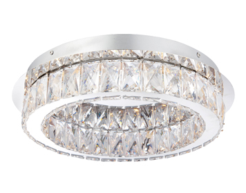 Endon Swayze LED Flush Ceiling Light, Chrome Plate Finish With Clear Faceted Acrylic - 61340