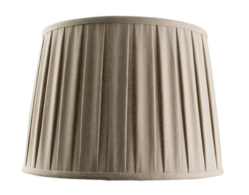 Endon Cleo Tapered Cylinder Shade (355mm), Taupe Faux Linen Finish - 61351