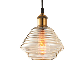 Endon Williams 1 Light Ceiling Pendant, Antique Brass Finish With Tinted Cognac Glass - 61355
