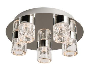 Endon Imperial LED 5 Light Flush Ceiling Light, Chrome Plate Finish & Clear Glass With Bubbles - 61358