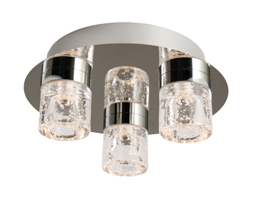 Endon Imperial LED 3 Light Flush Ceiling Light, Chrome Plate Finish & Clear Glass With Bubbles - 61359