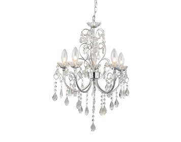 Endon Tabitha 5 Light Pendant, Clear Crystal Glass & Chrome Plate Finish - 61384