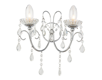 Endon Tabitha Twin Wall Light, Clear Crystal Glass & Chrome Plate Finish - 61385